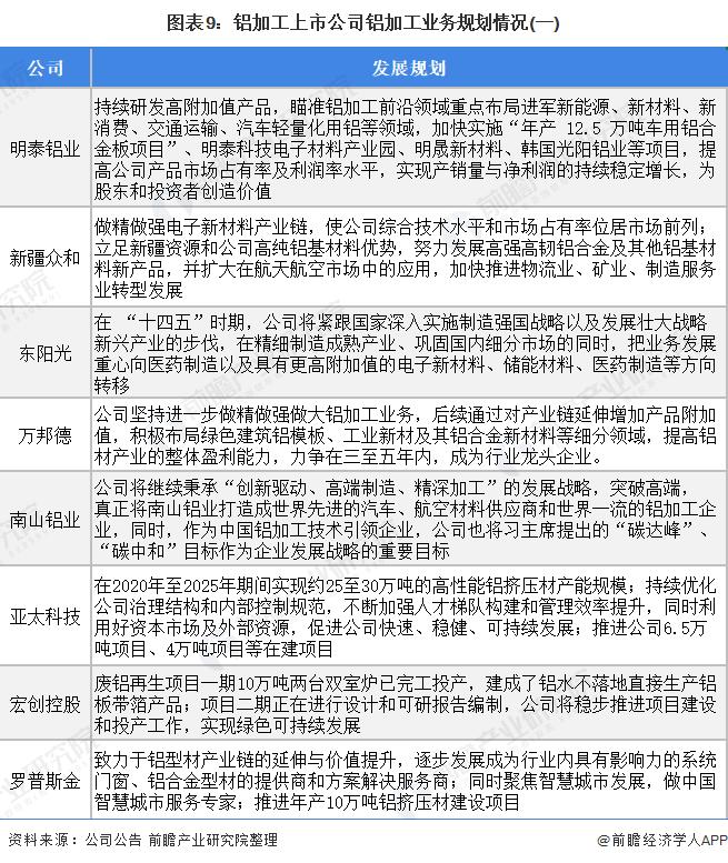 图表9:铝加工上市公司铝加工业务规划情况(一)