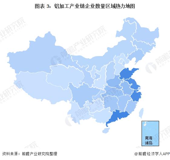 图表 3:铝加工产业链企业数量区域热力地图