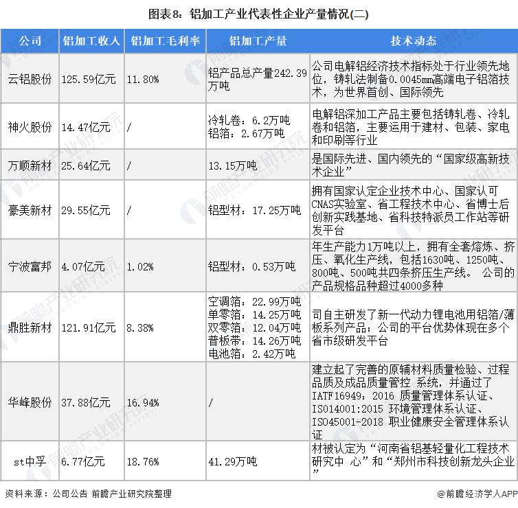 图表8:铝加工产业代表性企业产量情况(二)