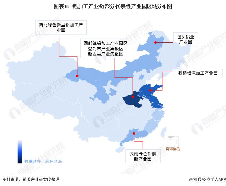 图表6:铝加工产业链部分代表性产业园区域分布图