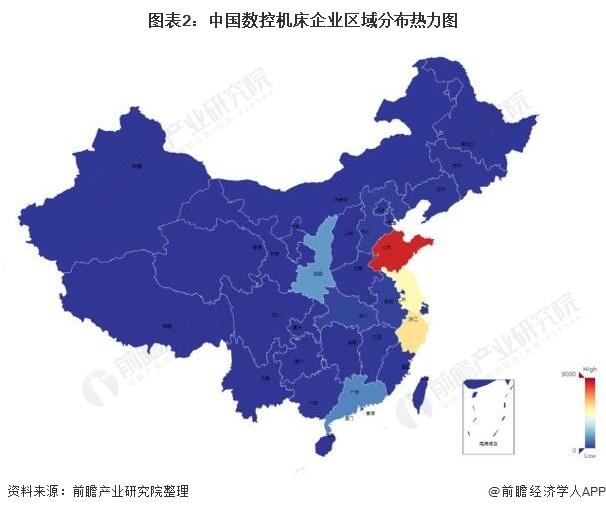 图表2:中国数控机床企业区域分布热力图