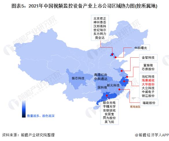 图表5:2021年中国视频监控设备产业上市公司区域热力图(按所属地)