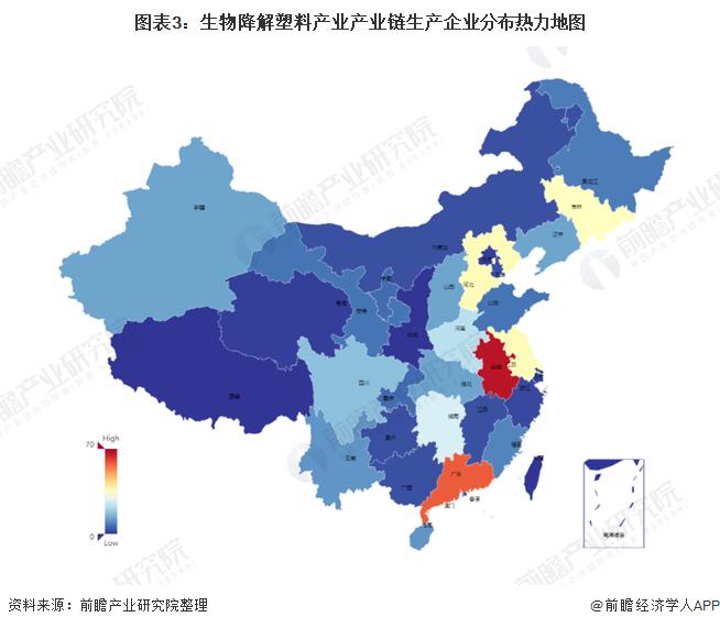 图表3:生物降解塑料产业产业链生产企业分布热力地图
