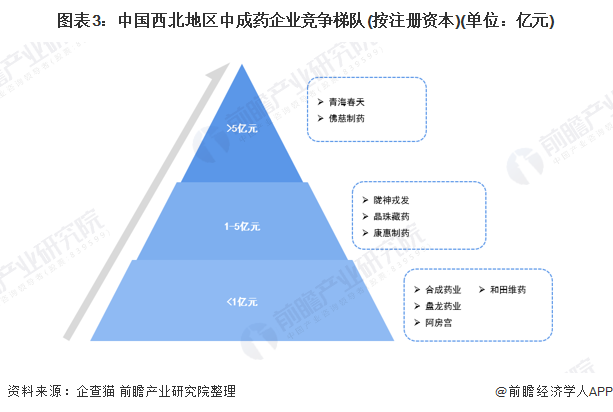 图表3:中国西北地区中成药企业竞争梯队(按注册资本)(单位:亿元)