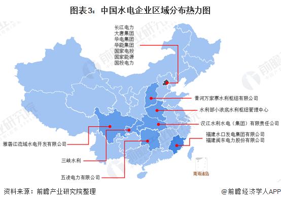 图表3:中国水电企业区域分布热力图