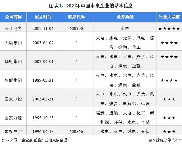 图表1:2021年中国水电企业的基本信息
