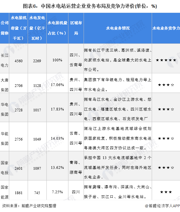 图表6:中国水电站运营企业业务布局及竞争力评价(单位:%)
