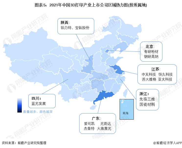 图表5:2021年中国3D打印产业上市公司区域热力图(按所属地)