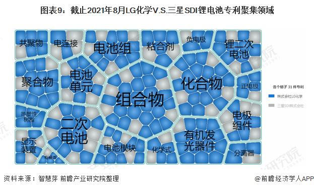 图表9:截止2021年8月LG化学V.S.三星SDI锂电池专利聚集领域