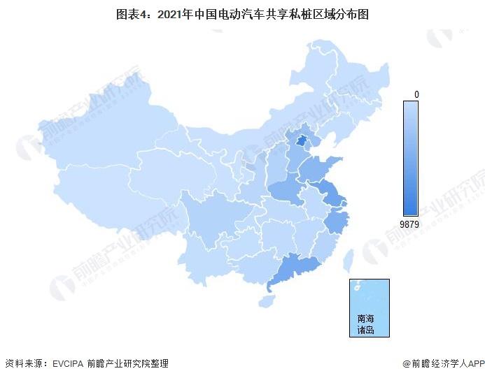 图表4:2021年中国电动汽车共享私桩区域分布图