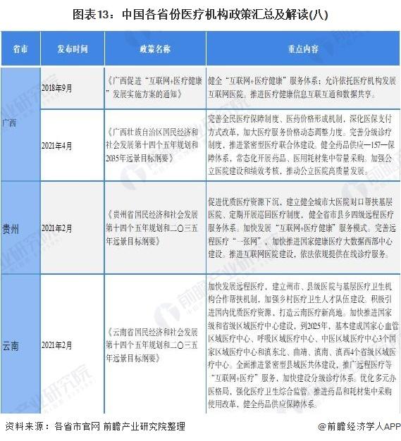 图表13:中国各省份医疗机构政策汇总及解读(八)