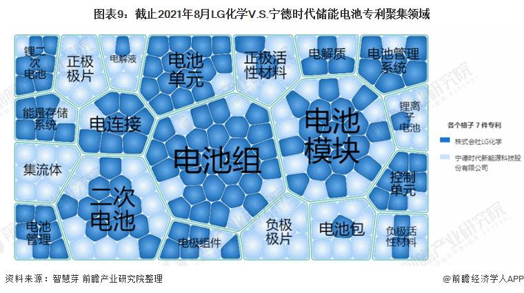 图表9:截止2021年8月LG化学V.S.宁德时代储能电池专利聚集领域