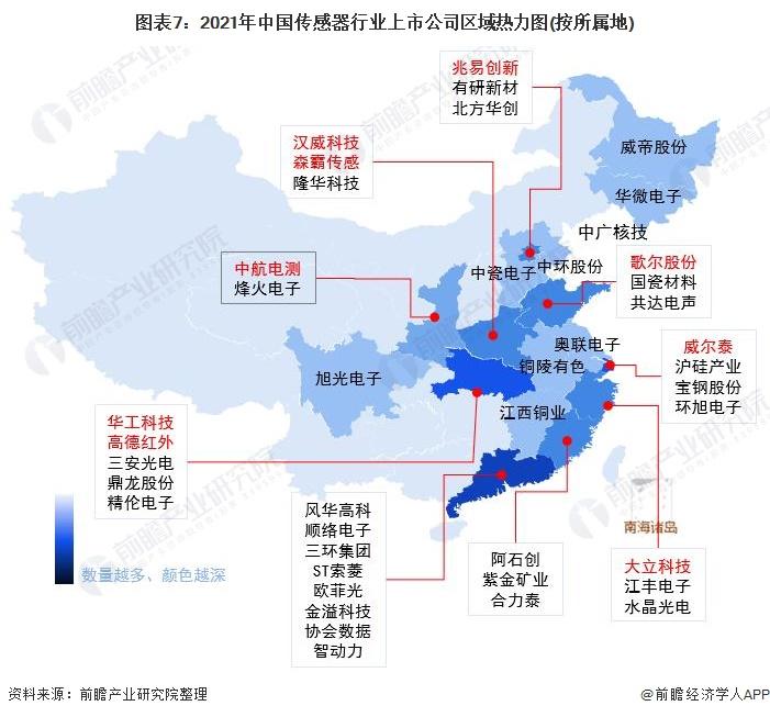 图表7:2021年中国传感器行业上市公司区域热力图(按所属地)