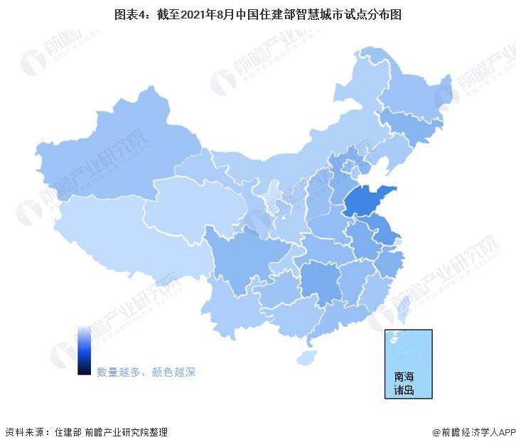图表4:截至2021年8月中国住建部智慧城市试点分布图