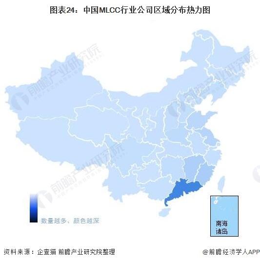 图表24:中国MLCC行业公司区域分布热力图