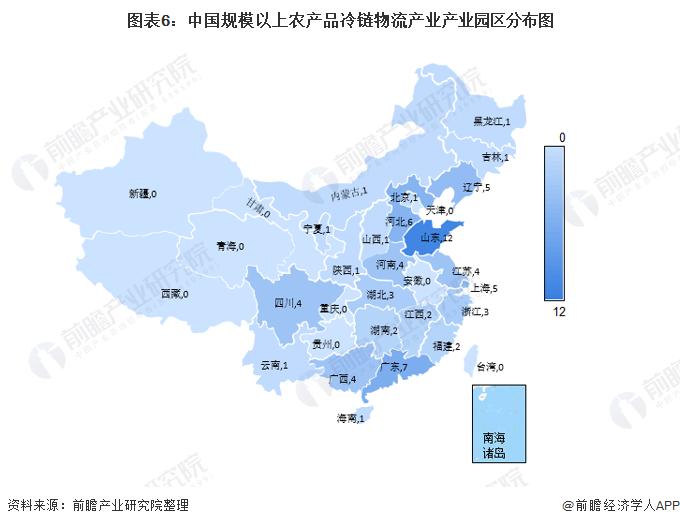 图表6:中国规模以上农产品冷链物流产业产业园区分布图