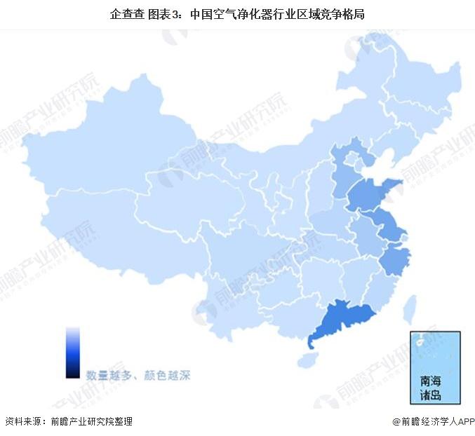 企查查 图表3:中国空气净化器行业区域竞争格局