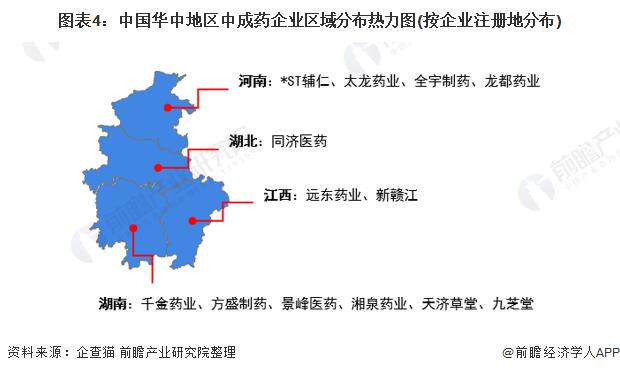 图表4:中国华中地区中成药企业区域分布热力图(按企业注册地分布)