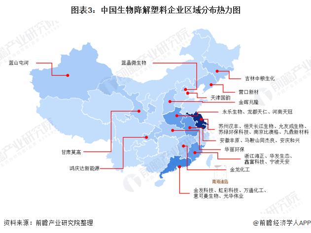 图表3:中国生物降解塑料企业区域分布热力图