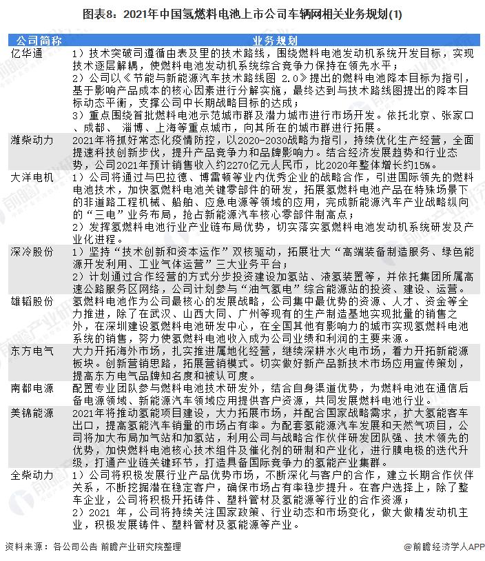 图表8:2021年中国氢燃料电池上市公司车辆网相关业务规划(1)
