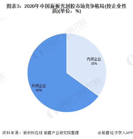 图表3:2020年中国面板光刻胶市场竞争格局(按企业性质)(单位:%)