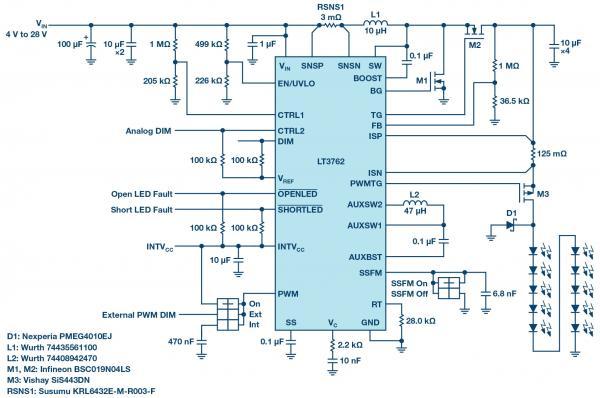 即使在低输入电压下,同步升压型转换器也能为大电流LED供电