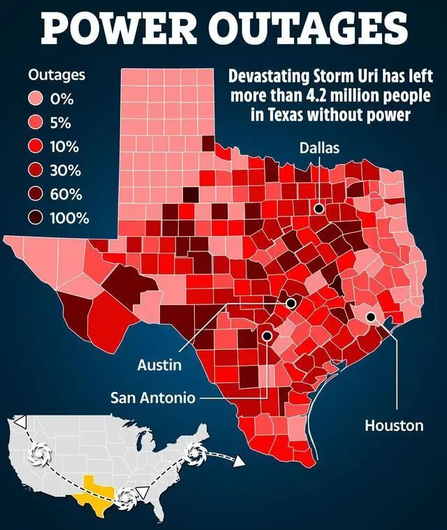 超大寒潮致得州大停电 美国电网哪里出了问题?