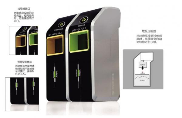 智能垃圾桶内置超声波传感器实现实时在线检测桶内垃圾高度