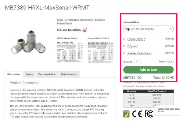 化学级别超声波传感器 MB7389选配增强产品耐酸耐腐蚀性能