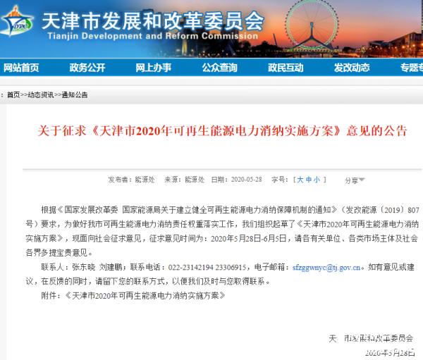 利好风电!天津发布2020年可再生能源电力消纳实施方案征求意见