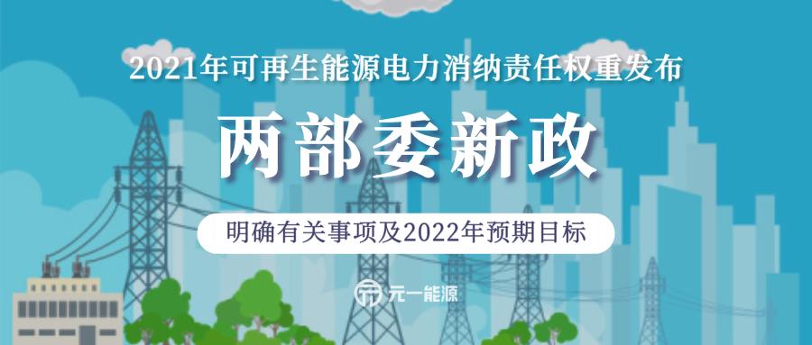 重磅!两部委发布2021年可再生能源电力消纳责任权重