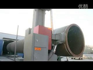 风电塔筒抛丸机工作演示视频