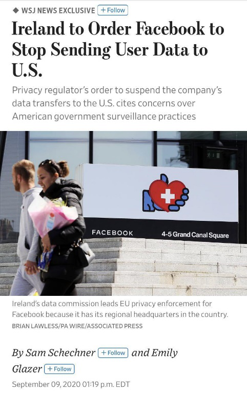 爱尔兰命令Facebook停止向美发送用户数据!