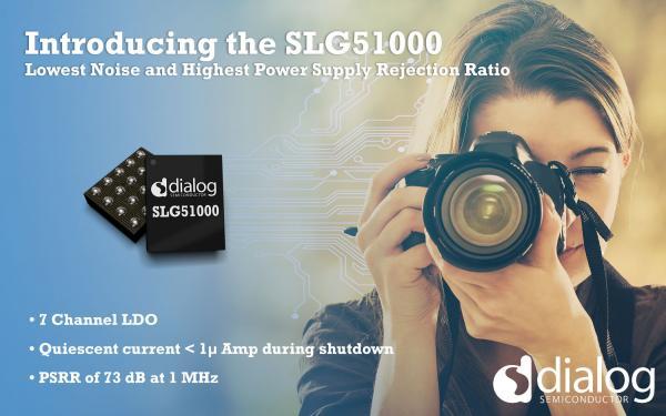 Dialog公司推出具有最低绝对噪声和最高电源抑制比性能的可配置多通道低压差线性稳压器