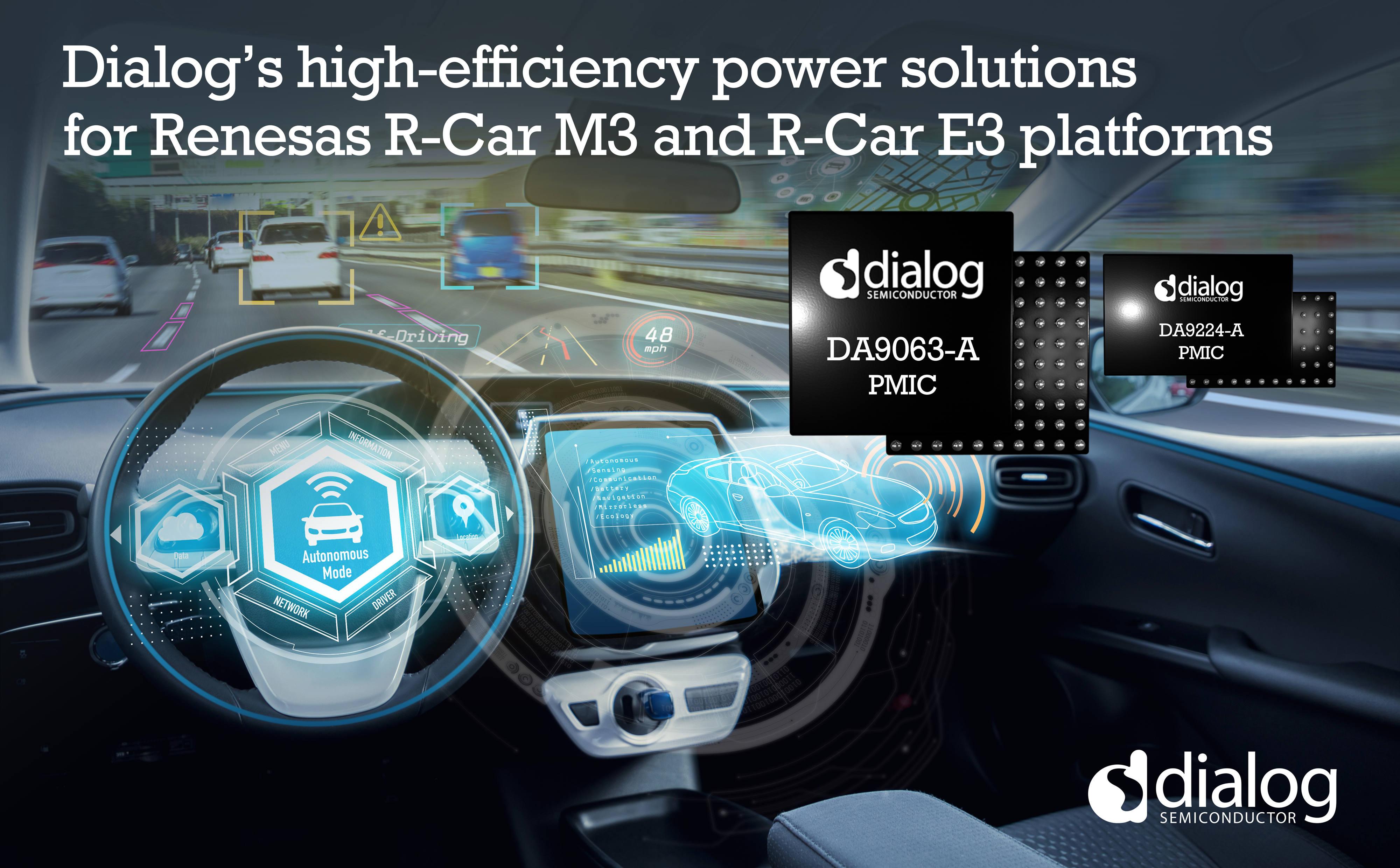 Dialog作为瑞萨汽车平台优选电源解决方案供应商,进一步扩展双方合作