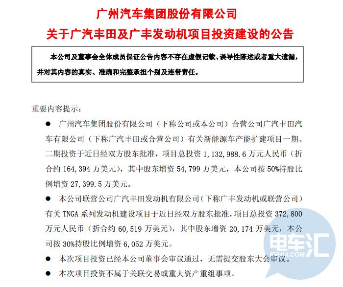 广汽丰田投113.3亿元扩建新能源车产能40万辆/年