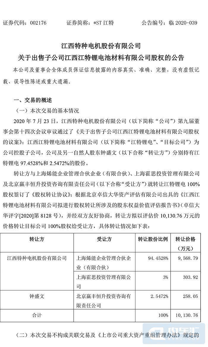 江特电机1.01亿转让江特锂电全部股权