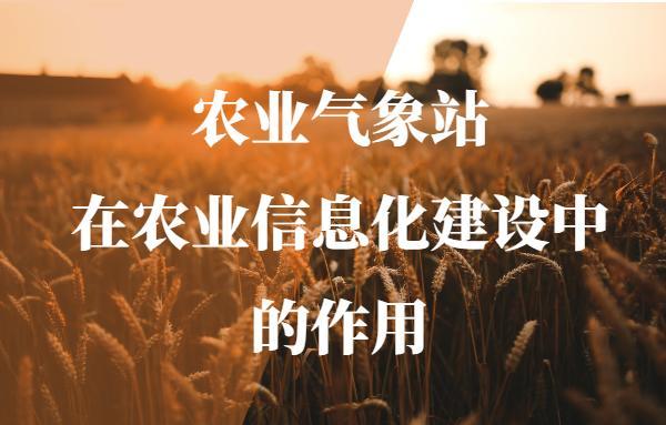 农业气象站在农业信息化建设中的作用