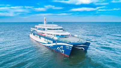 """中国首艘油电混动邮轮""""大湾区一号""""投入使用"""