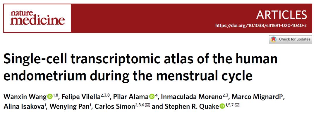 《自然·医学》:月经周期中子宫内膜单细胞转录组图谱