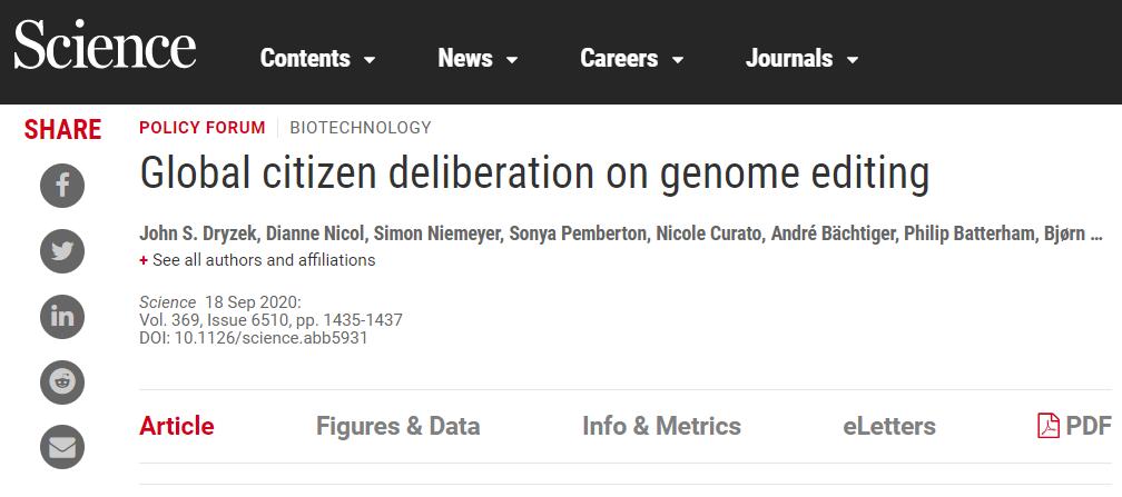25位科学家号召建立全球公民大会,以监督基因编辑技术及其应用