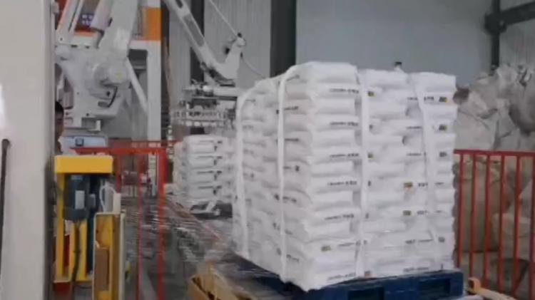 生产线后段全自动码垛缠绕打包流水线