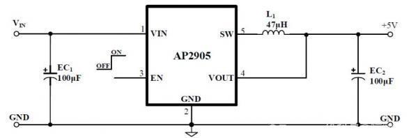 ap2905固定5V输出0.7 A同步降压芯片方案