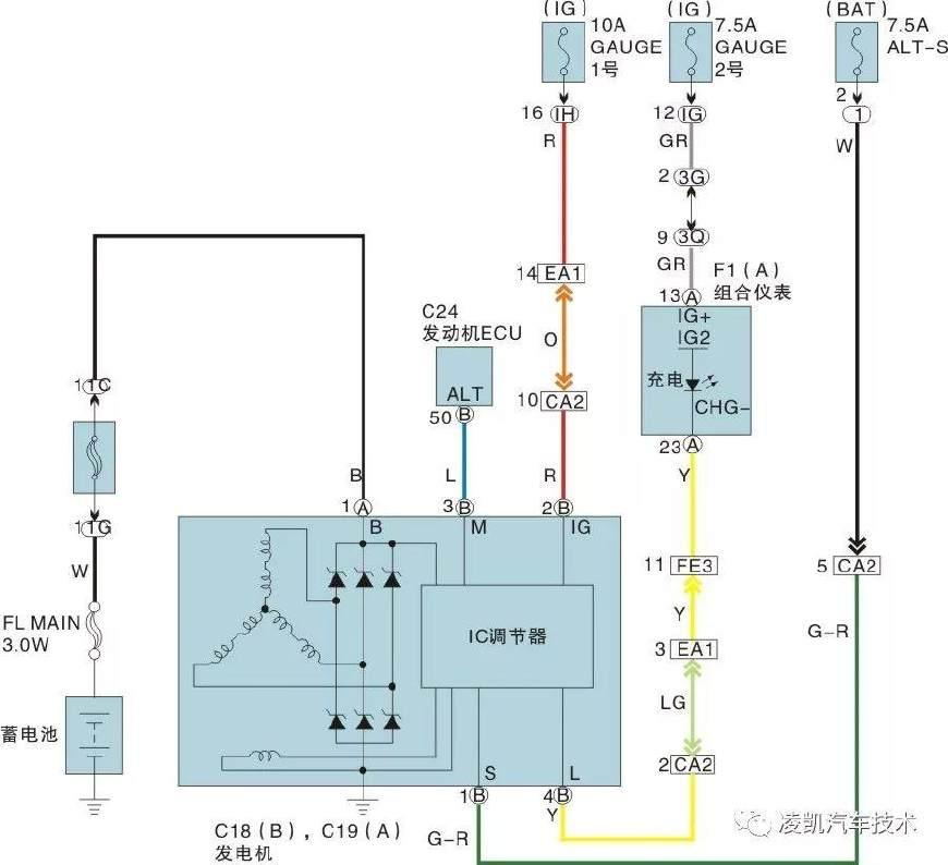 电路识读19-充电系统电路图识读