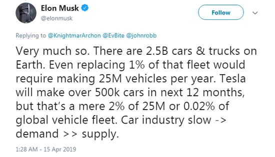 马斯克:特斯拉将在12个月内生产50万辆汽车